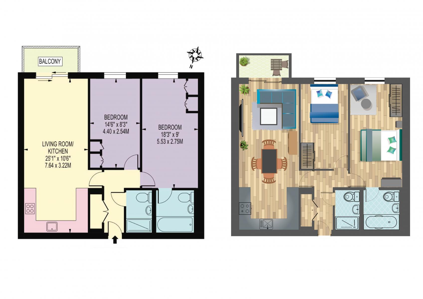 Residential 3D Floorplan layout